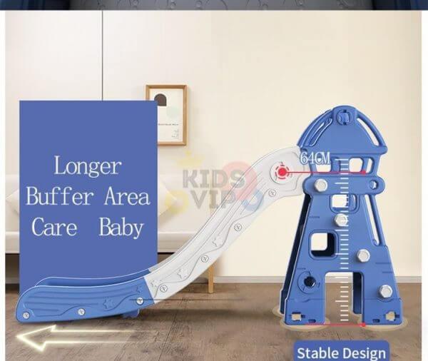 kidsvip 5 in 1 toddlers infants swing slide football basketball playground indoor outdoor set blue 10