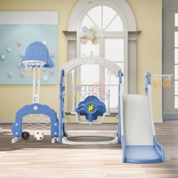kidsvip 5 in 1 toddlers infants swing slide football basketball playground indoor outdoor set blue 13