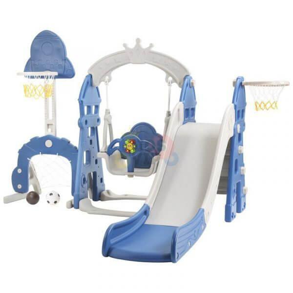 kidsvip 5 in 1 toddlers infants swing slide football basketball playground indoor outdoor set blue 14