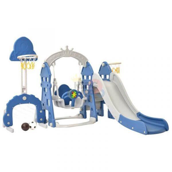 kidsvip 5 in 1 toddlers infants swing slide football basketball playground indoor outdoor set blue 17