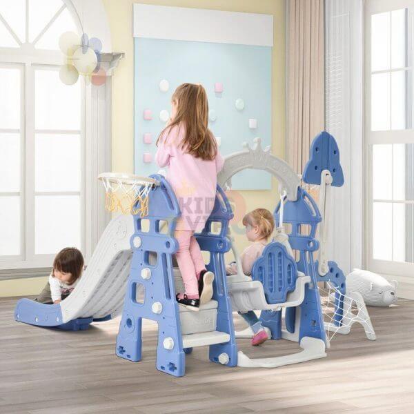 kidsvip 5 in 1 toddlers infants swing slide football basketball playground indoor outdoor set blue 18
