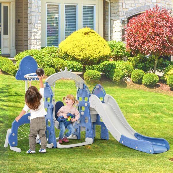 kidsvip 5 in 1 toddlers infants swing slide football basketball playground indoor outdoor set blue 20