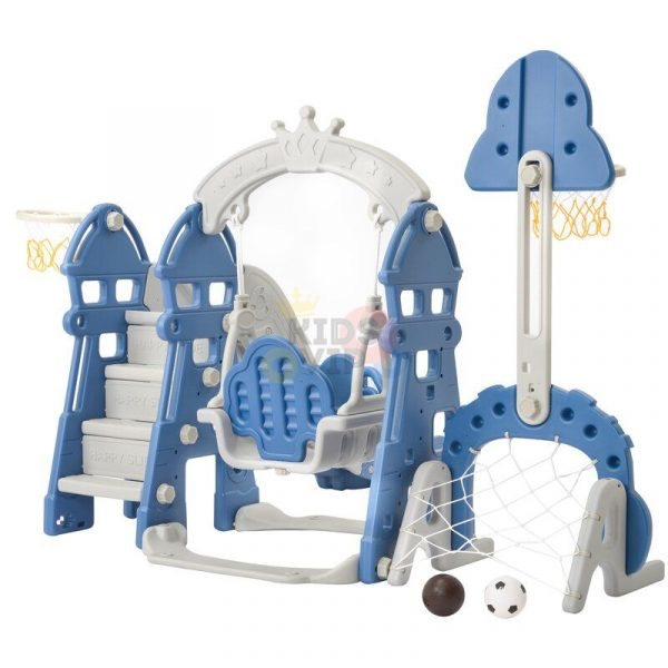 kidsvip 5 in 1 toddlers infants swing slide football basketball playground indoor outdoor set blue 23
