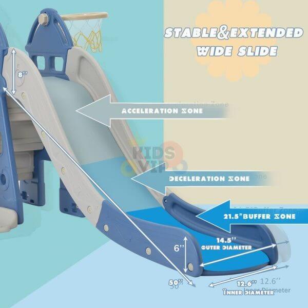 kidsvip 5 in 1 toddlers infants swing slide football basketball playground indoor outdoor set blue 25