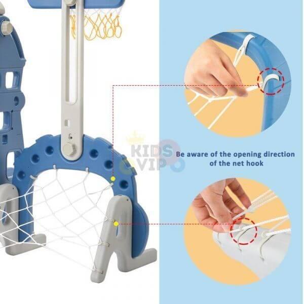 kidsvip 5 in 1 toddlers infants swing slide football basketball playground indoor outdoor set blue 26