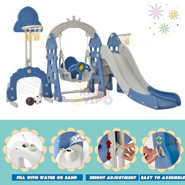 kidsvip 5 in 1 toddlers infants swing slide football basketball playground indoor outdoor set blue 28