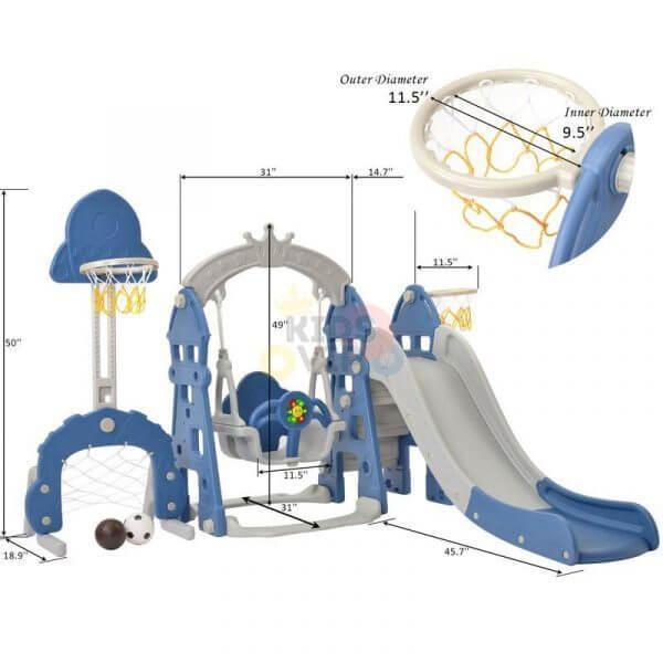 kidsvip 5 in 1 toddlers infants swing slide football basketball playground indoor outdoor set blue 29