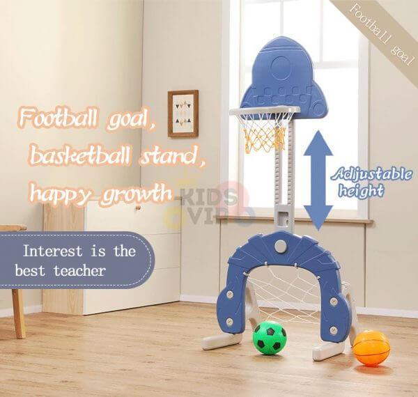 kidsvip 5 in 1 toddlers infants swing slide football basketball playground indoor outdoor set blue 3