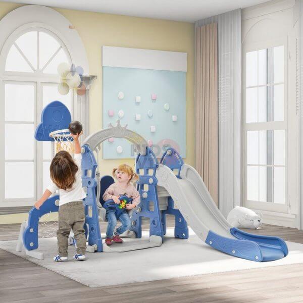 kidsvip 5 in 1 toddlers infants swing slide football basketball playground indoor outdoor set blue 32
