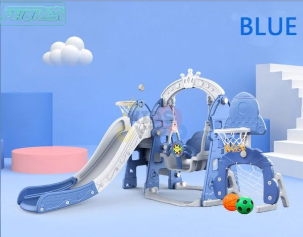 kidsvip 5 in 1 toddlers infants swing slide football basketball playground indoor outdoor set blue 7
