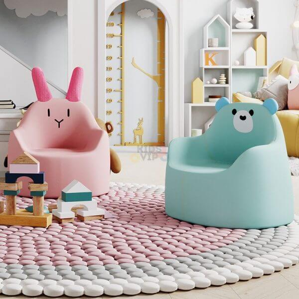kidsvip leatther sofa chair pu pink bunny 12