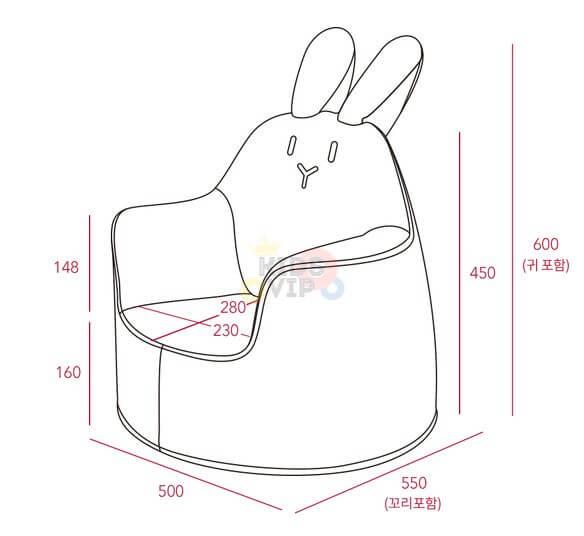 kidsvip leatther sofa chair pu pink bunny 3