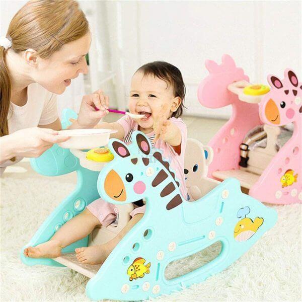 kidsvip rocking deer zeebra chair toddlers infants blue 11