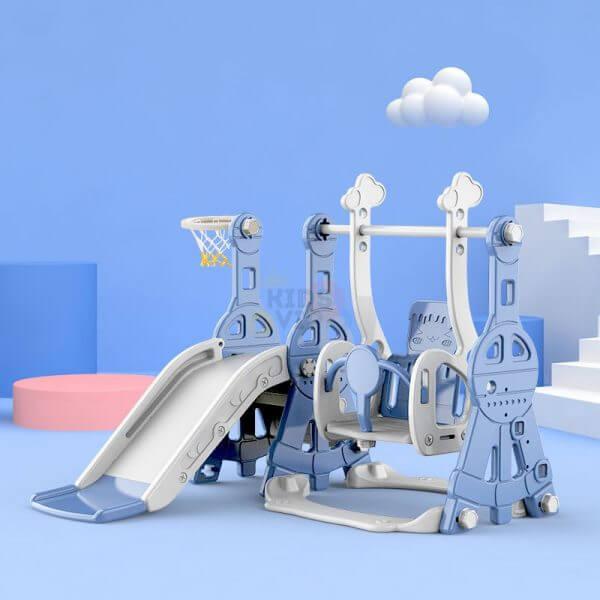kidsvip tower swing slide basketball kids toddlers infants blue 4