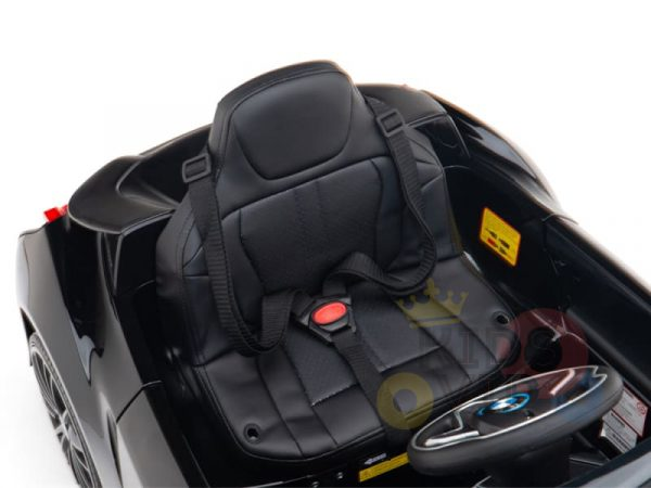kids and toddlers bmw i8 ride on car 12v leather seat rubber wheels kids vip black 10