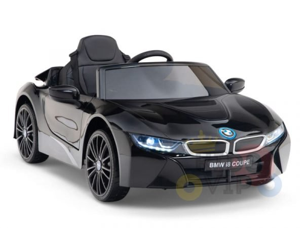 kids and toddlers bmw i8 ride on car 12v leather seat rubber wheels kids vip black 12