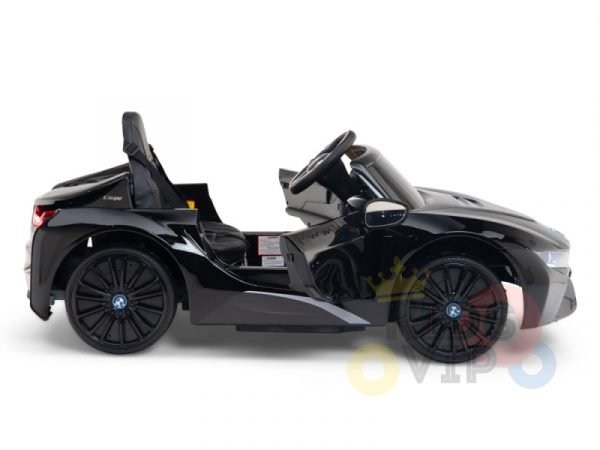 kids and toddlers bmw i8 ride on car 12v leather seat rubber wheels kids vip black 14