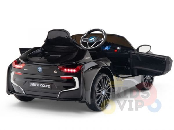 kids and toddlers bmw i8 ride on car 12v leather seat rubber wheels kids vip black 15