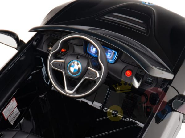 kids and toddlers bmw i8 ride on car 12v leather seat rubber wheels kids vip black 16