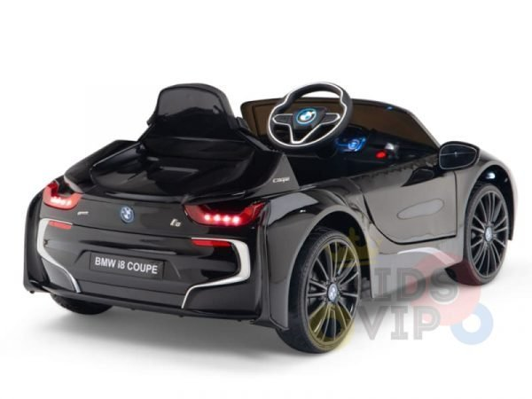 kids and toddlers bmw i8 ride on car 12v leather seat rubber wheels kids vip black 17