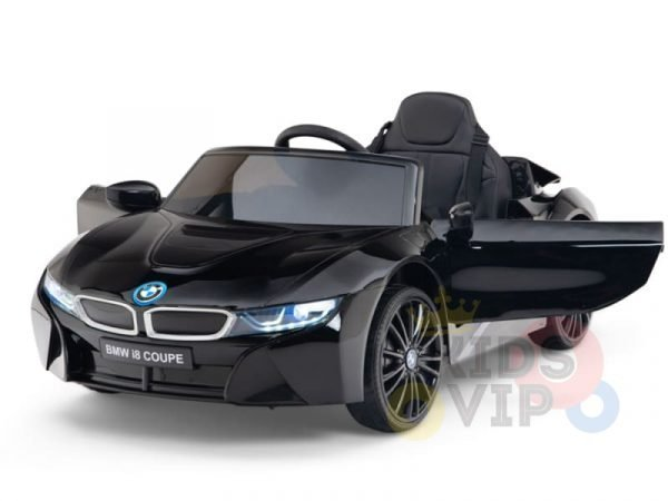 kids and toddlers bmw i8 ride on car 12v leather seat rubber wheels kids vip black 18