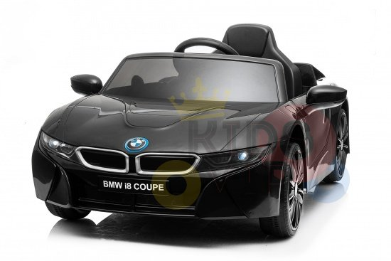 kids and toddlers bmw i8 ride on car 12v leather seat rubber wheels kids vip black 4