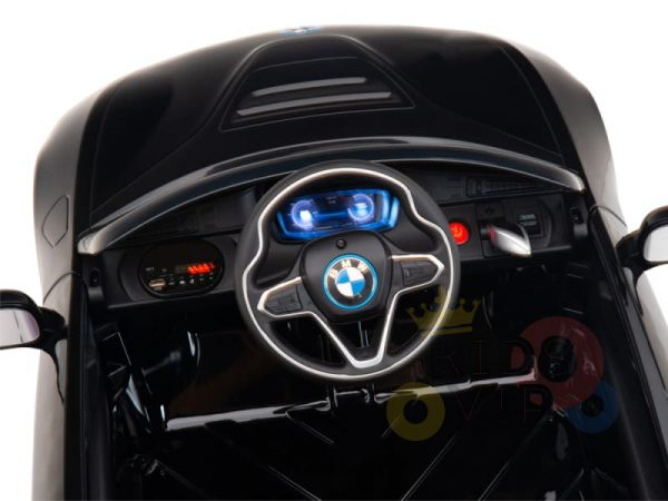kids and toddlers bmw i8 ride on car 12v leather seat rubber wheels kids vip black 8