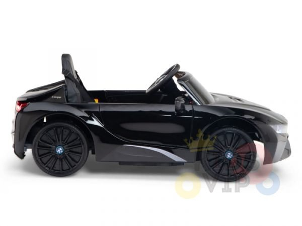 kids and toddlers bmw i8 ride on car 12v leather seat rubber wheels kids vip black 9