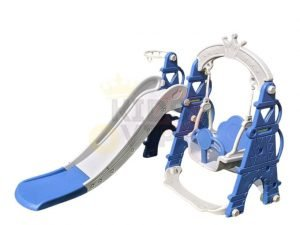 kids toddlers swing slide playset crown kidsvip blue 2
