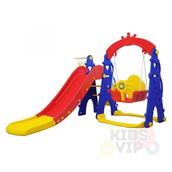 kids toddlers swing slide playset crown kidsvip colorfull 10