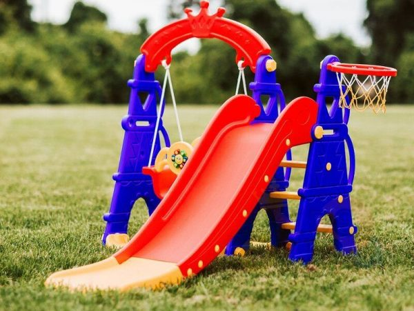 kids toddlers swing slide playset crown kidsvip colorfull 12