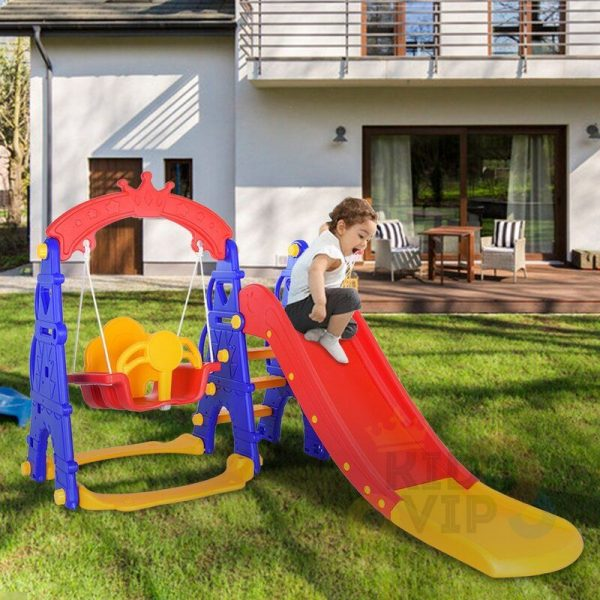 kids toddlers swing slide playset crown kidsvip colorfull 14