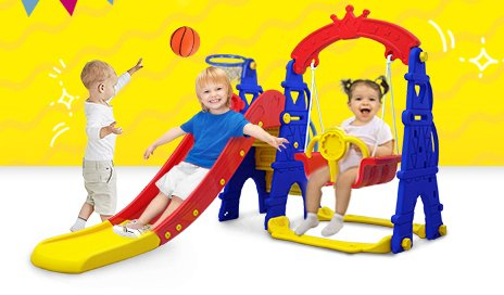 kids toddlers swing slide playset crown kidsvip colorfull 2