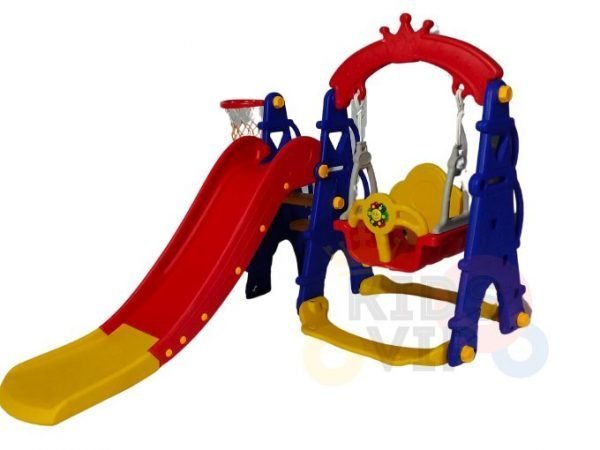 kids toddlers swing slide playset crown kidsvip colorfull 4