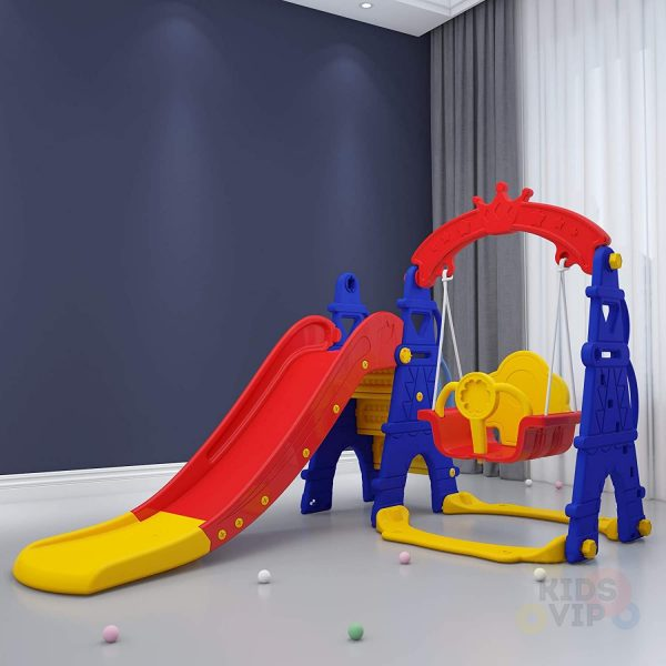 kids toddlers swing slide playset crown kidsvip colorfull 5
