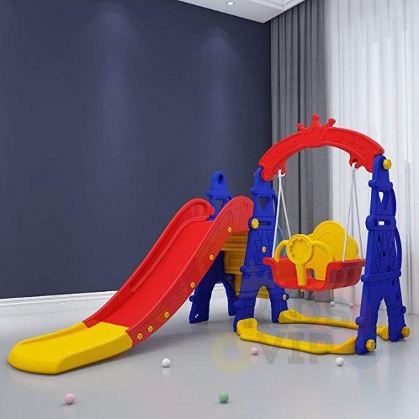 kids toddlers swing slide playset crown kidsvip colorfull 7