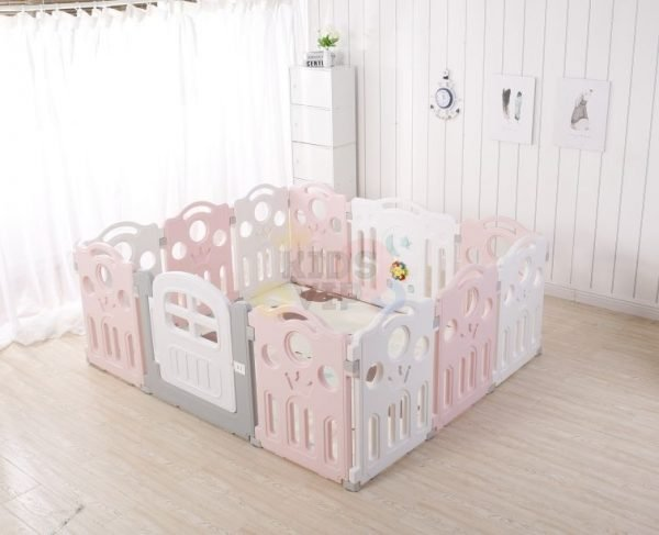 kidsvip 12panel toddlers fence crown pink 3