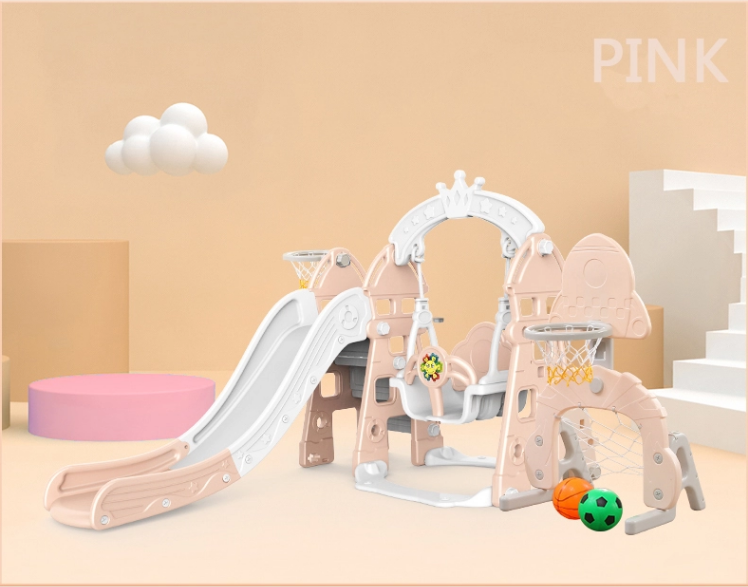 kidsvip 5 in 1 toddlers infants swing slide football basketball playground indoor outdoor set pink 1
