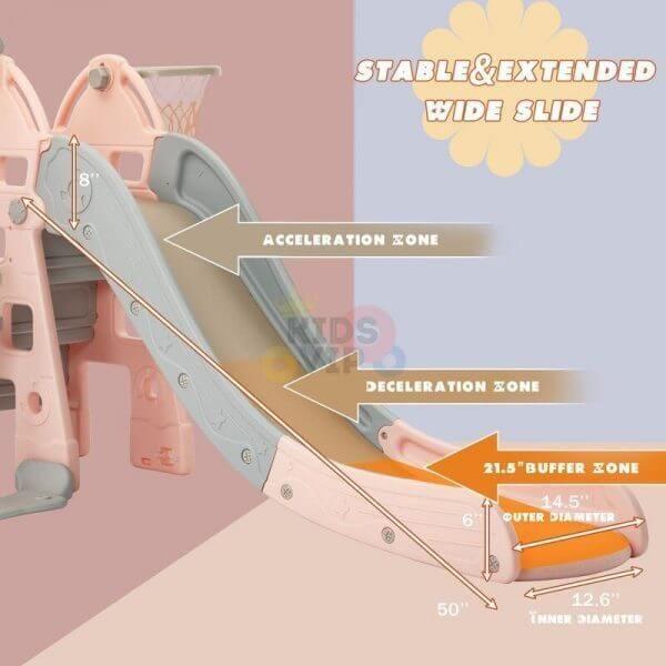 kidsvip 5 in 1 toddlers infants swing slide football basketball playground indoor outdoor set pink 11