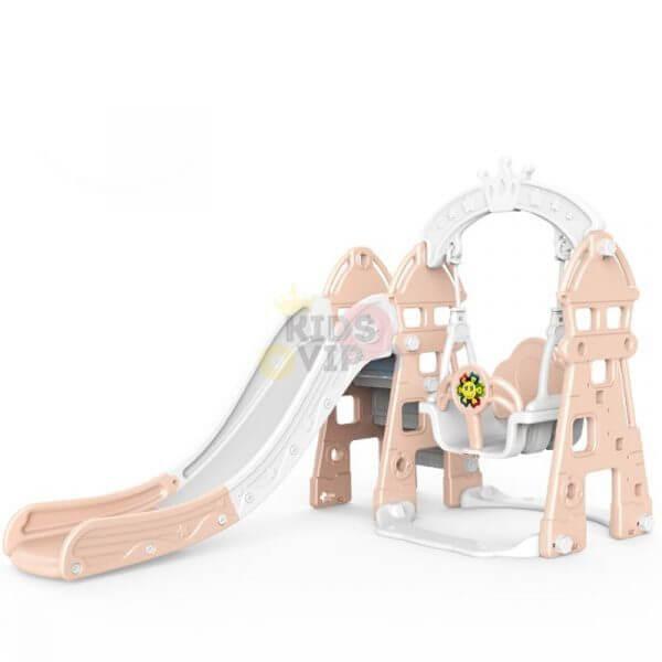 kidsvip 5 in 1 toddlers infants swing slide football basketball playground indoor outdoor set pink 13