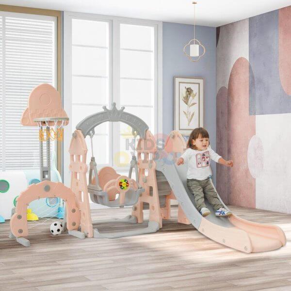 kidsvip 5 in 1 toddlers infants swing slide football basketball playground indoor outdoor set pink 15