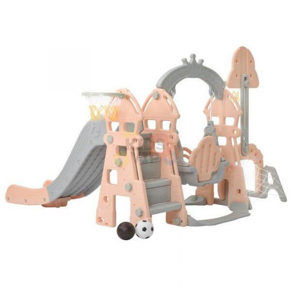 kidsvip 5 in 1 toddlers infants swing slide football basketball playground indoor outdoor set pink 3