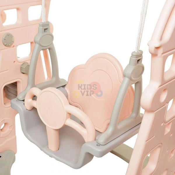 kidsvip 5 in 1 toddlers infants swing slide football basketball playground indoor outdoor set pink 4