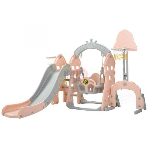 kidsvip 5 in 1 toddlers infants swing slide football basketball playground indoor outdoor set pink55