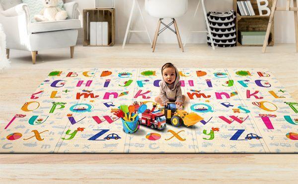 kidsvip foldable 2 sides kids toddlers mat craweler abc 4