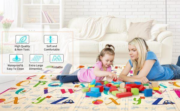 kidsvip foldable 2 sides kids toddlers mat craweler abc 5