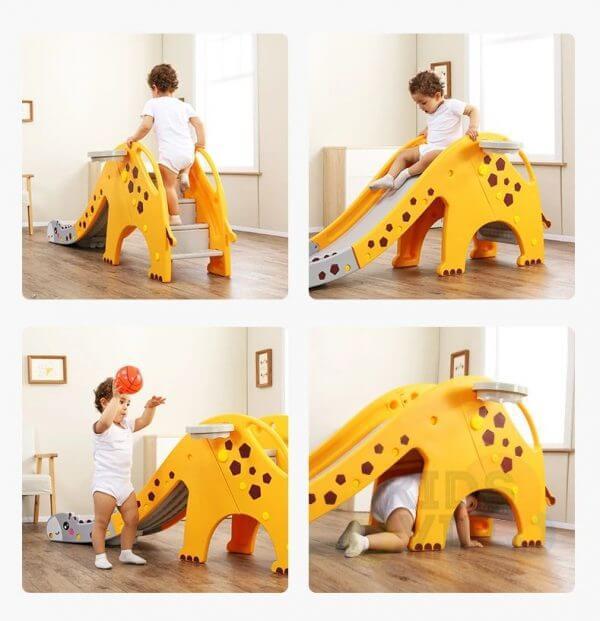 kidsvip giraffe slide kids toddlers indoor outdoor yellow 3