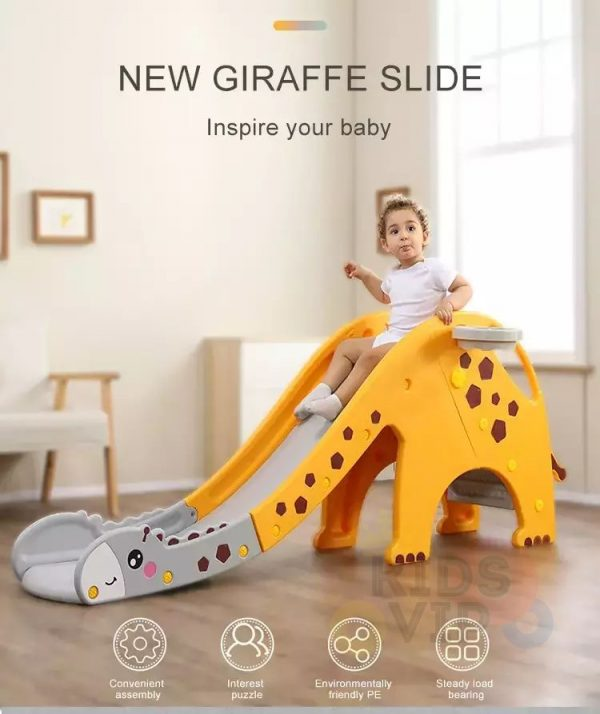 kidsvip giraffe slide kids toddlers indoor outdoor yellow 4