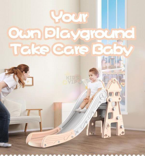 kidsvip kids toddlers infants indoor outdoor caste slide full step pink 6