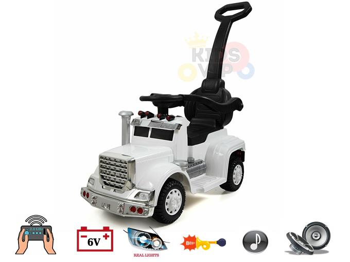 Kids and Toddlers 3 in1 Convertible 6v Ride on Big Rig Truck, Handle/Guards/RC